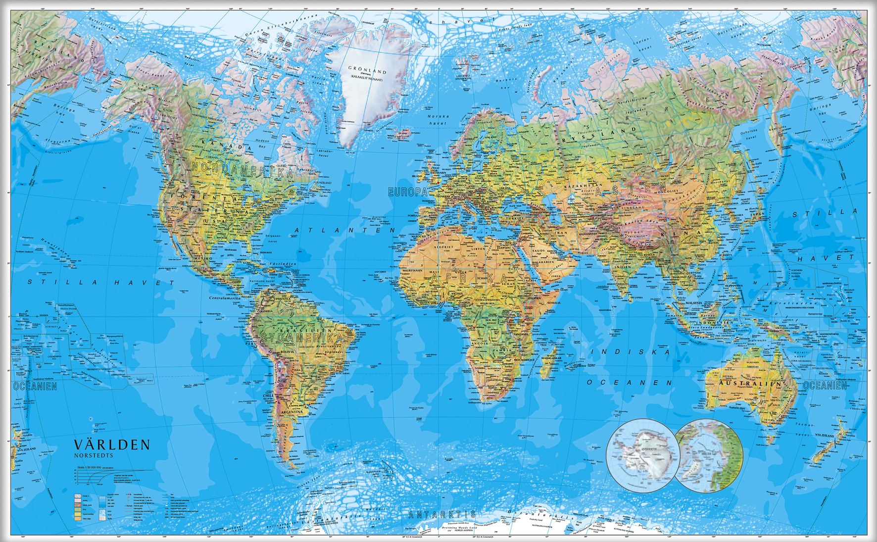 Karta Over Varldens Bergskedjor.Varldskarta 1 30milj 137x85cm Contalia Kontorsvaror